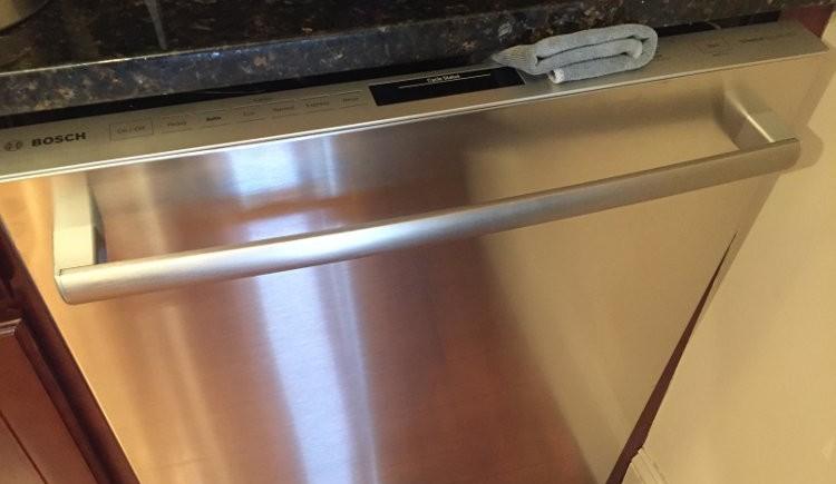Bosch dishwasher rolled up towel